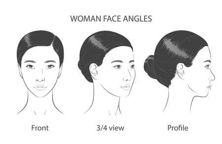 Asian korean women portrait three dimension angles. Vector illustration