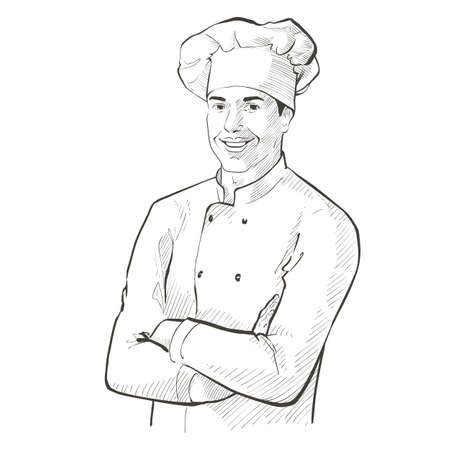 Chef in working uniform. smiling Baker in a chef cap in the restaurant kitchen, standing with crossed arms. Vector line sketch realistic vintage hand-drawn illustration