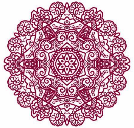 Hindi Mandala Vector Art Pattern Design Vetores