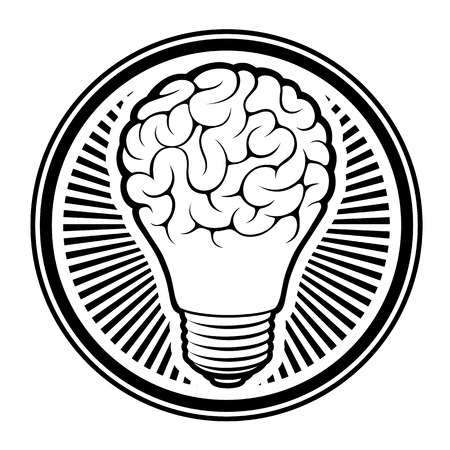 brain: light bulb idea - human brain - Isolated on white background vector illustration