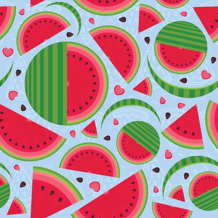 segment: I love watermelon - segment slices and seeds - seamless vector pattern