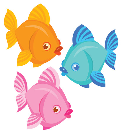 saltwater: colorful saltwater fish - vector set for design