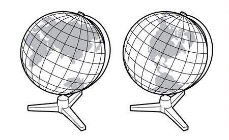 Black and white vector earth globes isolated on white - two views of the earth globe