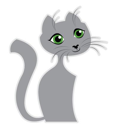 gray cat: Cartoon gray cat - vector illustration