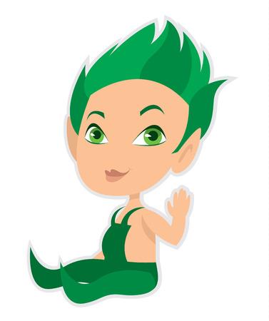 cartoon elfe: wenig Cartoon Elf im gr�nen Overall - Vektor-Illustration Illustration
