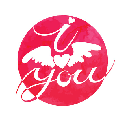 i love you sign: I love you sign with a winged heart vector watercolor