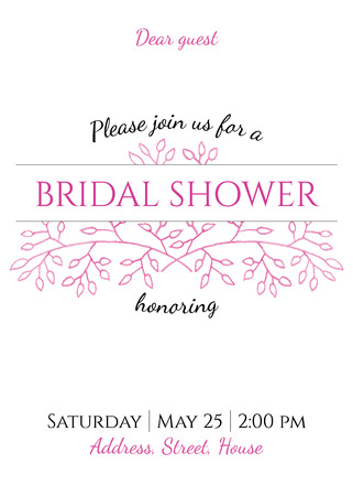 bridal shower invitation - gentle watercolor background with hand drawing floral decor Stock Vector - 35354346