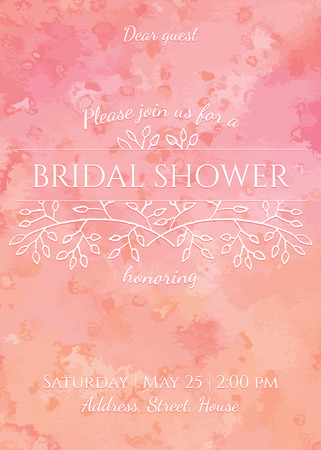 bridal shower invitation - gentle watercolor background with hand drawing floral decor Ilustrace