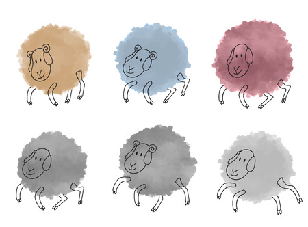 sheeps: Cute watercolor sheeps set. Vector illustration isolated on white. Illustration