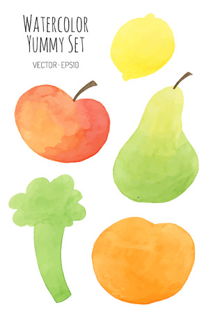 different colored fruits and vegetables - vector watercolor Vector