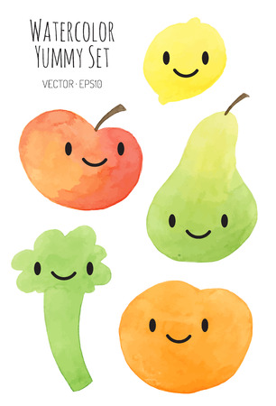 different colored fruits and vegetables with emotion face - vector watercolor Ilustrace