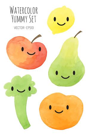 verschillende gekleurde vruchten en groenten met emotie gezicht - vector aquarel