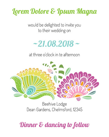 Invitation card with flower vector template - for wedding invitations, flyers, postcards, cards and so on Ilustracja