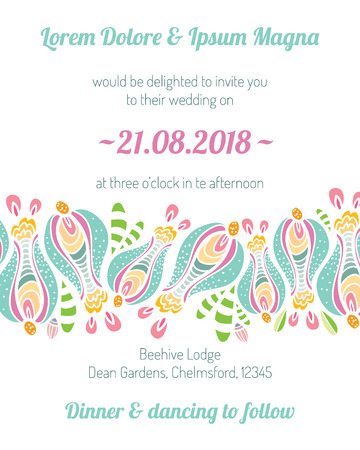 gladness: Invitation card with flower vector template - for wedding invitations, flyers, postcards, cards and so on Illustration
