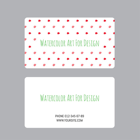 business cards design template with vector watercolor drawings of plants Vector