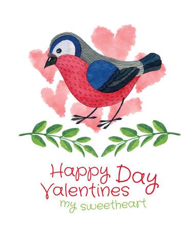 plantilla para tarjetas: P�jaro con las ramitas y corazones - plantilla de la tarjeta de San Valent�n mano vector acuarela dibujada