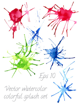poured: vector watercolor colorfu blots and splashes Illustration