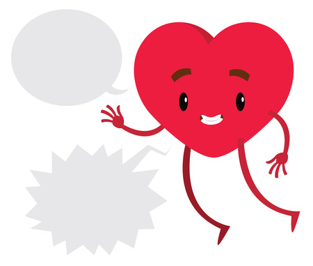 amor: Red heart with comics baloon for Valentines day - vector illustration