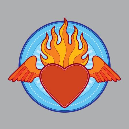 burning flaming heart - vector illustration Vector