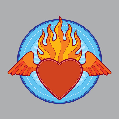 flaming: burning flaming heart - vector illustration