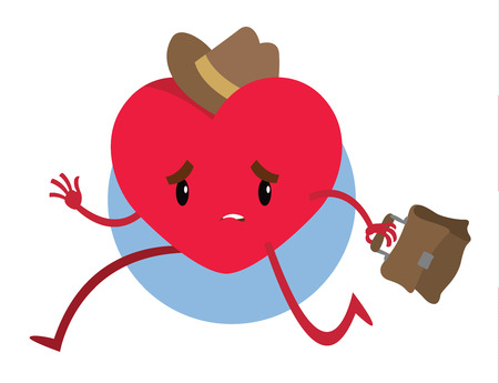 big red heart in mans hat frightened hurries to meet
