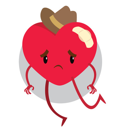 pity: big red heart in mans hat with bandage - vector illustration