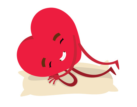 weariness: Red sleeping smiling heart for Valentines day - vector illustration