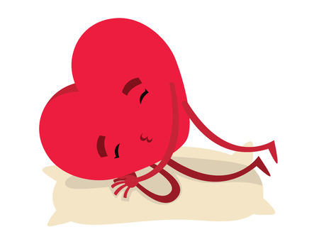 weariness: Red sleeping heart for Valentines day - vector illustration Illustration