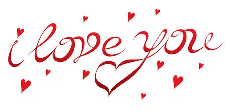 de hand tekening inscriptie I love you - exclusieve belettering voor Valentijnsdag