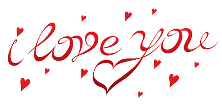 hand drawing inscription I love you - exclusive lettering for Valentines Day 向量圖像