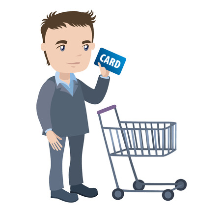 man with a shopping cart and credit card - businessman cartoon character series of drawings Vector