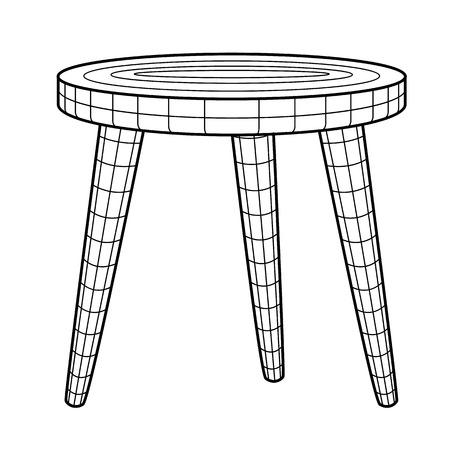 wooden stool: Retro stool - imitation construction scheme