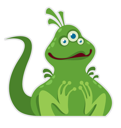 little cartoon green monster - vector illustration Vector
