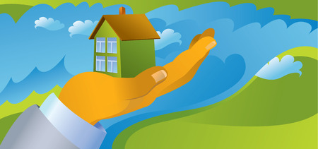 sold small: mans hand holding house in landscape vector illustration