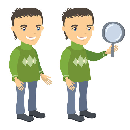 hold high: man in a sweater stands and holds magnifying glass - businessman cartoon character series of drawings