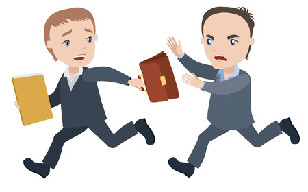 Manager runs away from disaffected men - businessman cartoon character series of drawings