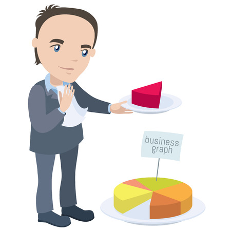 employee satisfaction: Manager holding piece of the chart like a pie - businessman cartoon character series of drawings