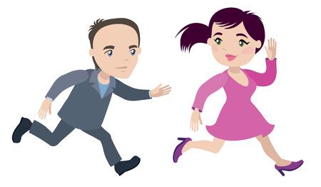 man runs for a woman - businessman cartoon character series of drawings