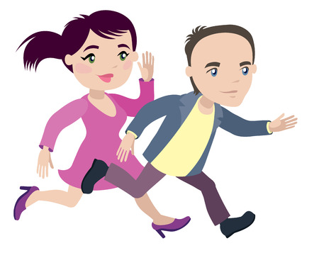 man and woman are late and run - businessman cartoon character series of drawings Illustration