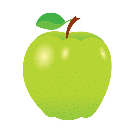 healty eating: fresh bright green apple - the symbol of healthy eating - vector illustration