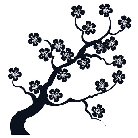 silhouette branches of sakura - vector drawing for embossing stamp and design Ilustracja