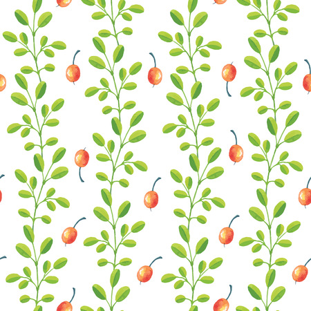 red berries: Seamless pattern from green branches red berries - watercolor vector template