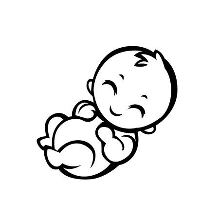 trẻ sơ sinh: trẻ sơ sinh nhỏ bé mỉm cười với vũ khí nhỏ và chân cách điệu hình thức thích hợp cho các biểu tượng đơn giản hóa