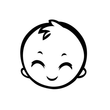 gezicht meisje pasgeboren baby jongen gezicht glimlach leuke gestileerde vector illustratie is nuttig voor tekenen pointers als bewegwijzering