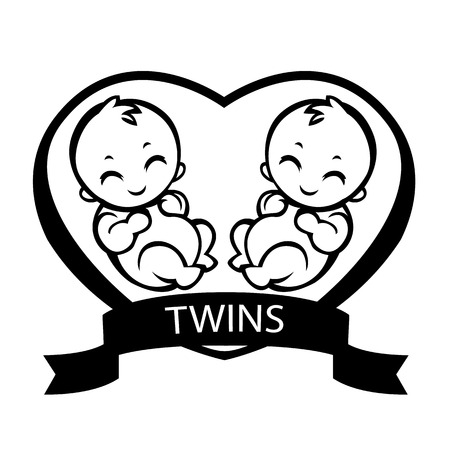 gemelos ni�o y ni�a: ni�os nacidos gemelos gemelos amor pintura aleg�rica para los ni�os de dibujo vectorial estilizaci�n adecuado para se�ales