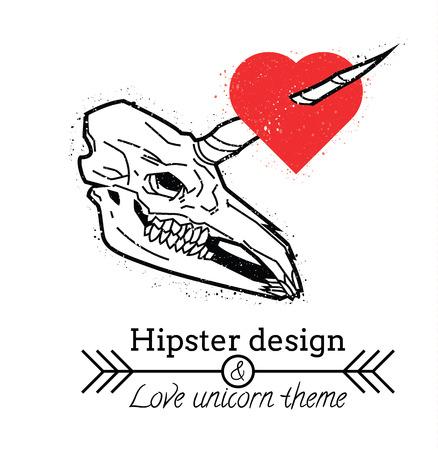 eye socket: Unicorn skull with heart hipster design isolated on white background Illustration