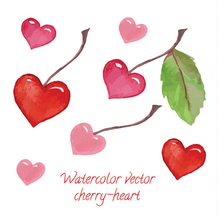 tasty: tasty heart-shaped cherries on branches - watercolor vector set Illustration