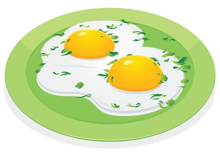 scrambled: scrambled eggs onscrambled eggs on green platevector illustration Illustration