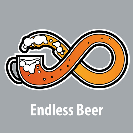 distributing: endless beer sign infinity symbol logo label design on shirt cap distributing free beer feast for all vector