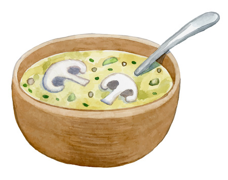 clay bowl with mushroom cream soup - healthy food- watercolor vector drawing Çizim
